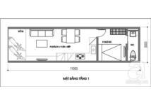 Tư vấn thiết kế nhà một trệt, một lửng, DT 3x11m
