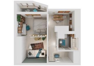 Không gian căn hộ 40m2 thoáng mát và tiện nghi của cặp vợ chồng trẻ